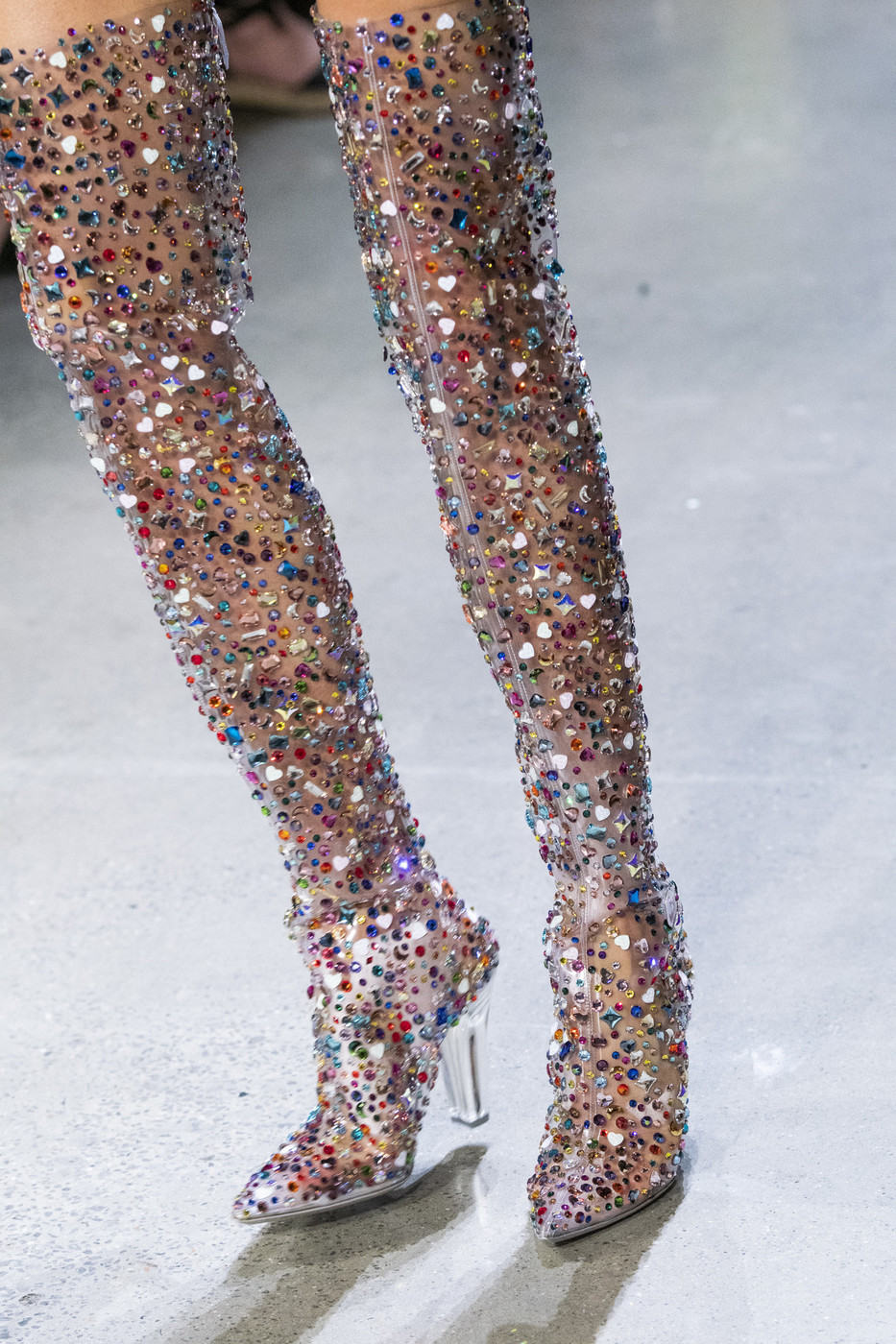Abesire 2019 Newest Women Multi Color Glitter Square High Heels Over the knee Boots Ladies Pointed Toe Side Zipper Runway Shoes