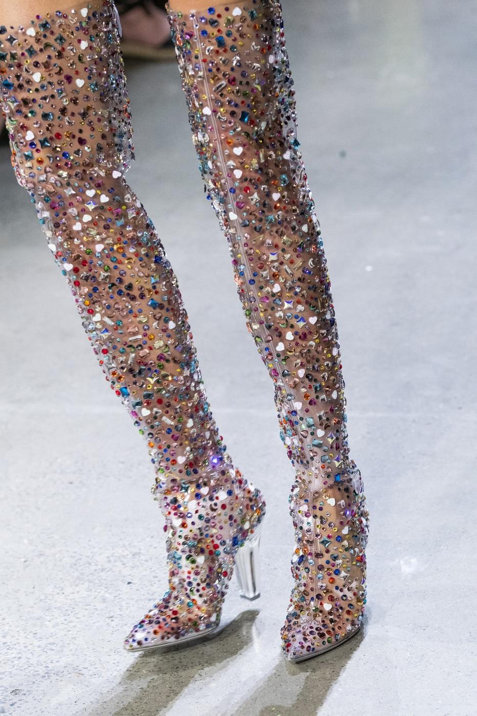 Abesire 2019 Nieuwste Vrouwen Multi Kleur Glitter Vierkante Hoge Hakken Over de knie Laarzen Dames Puntschoen Side zipper Runway Schoenen