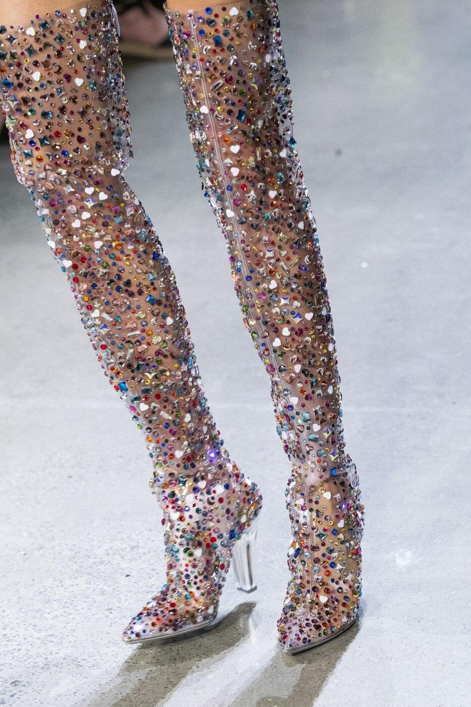 Abesire 2019 date femmes Multi couleur paillettes carré talons hauts bottes sur le genou dames bout pointu côté Zipper chaussures de piste