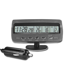 Автомобиль вольтметр Напряжение монитор Батарея тестер сигнализации Температура термометр часы