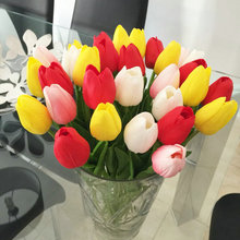 30pcs/lot Tulip Artificial Flower 2016 PU Artificial Flowers Real touch Bouquet For Home decoration Wedding Flowers