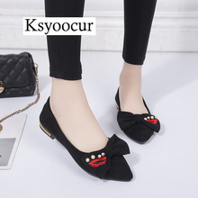 Brand Ksyoocur 2019 Spring New Ladies Flat Shoes Casual Women Comfortable Pointed Toe 18-001