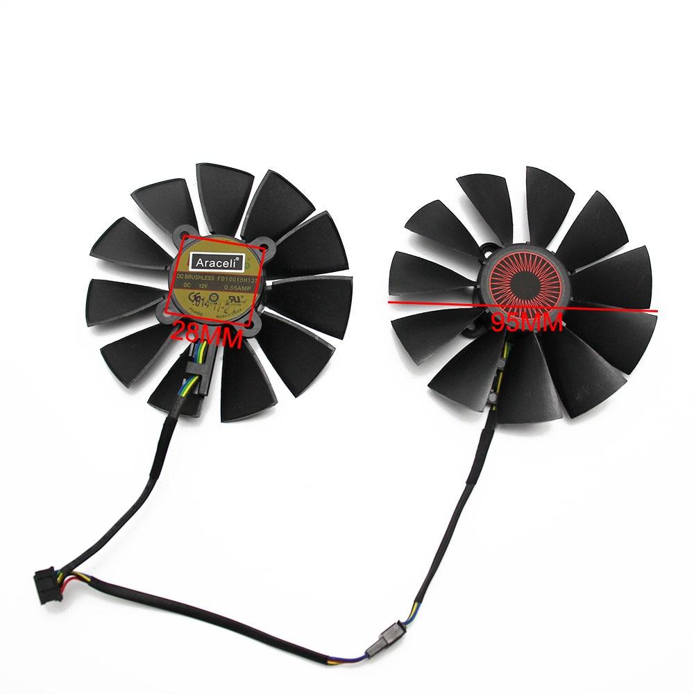 Image 4 - 95 мм FD10015H12S 0.55A 5Pin кулер вентилятор для ASUS STRIX GTX  970 980 780 TI R9 380 видеокарта охлаждающий вентиляторВентиляторы и  охлаждение