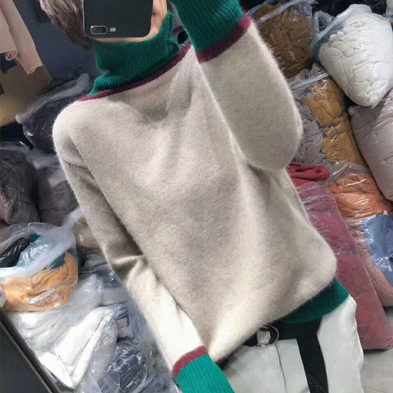 여성 풀오버 캐시미어 울 스웨터 2019 새로운 가을 겨울 두꺼운 높은 칼라 스웨터 여성 긴 소매 패치 워크 따뜻한 점퍼
