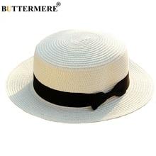 BUTTERMERE sombrero Panamá blanco sol sombreros mujeres paja protección Uv  sombrero de playa de los hombres lazo viajes baratos . 3d130d1055e