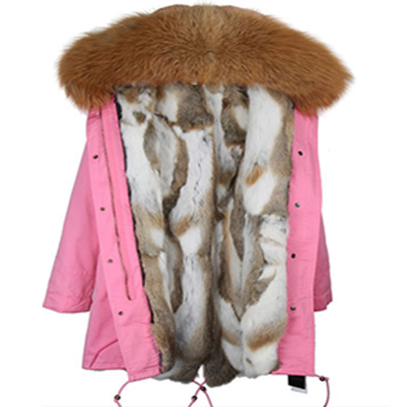 2017 Winter Women Coat Jacket Long Slim Parkas With Real Rex Rabbit Fur Liner And Large Raccoon Fur Collar Hooded Brand Quuality 2017 winter new clothes to overcome the coat of women in the long reed rabbit hair fur fur coat fox raccoon fur collar