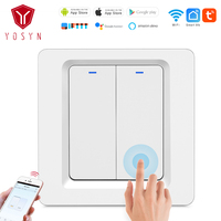 YOSYN 240V Wireless Switch Smart Wifi Wall Switch Wireless Remote Control Light Switch Wall Panel Touch Push Button Switch 2Gang