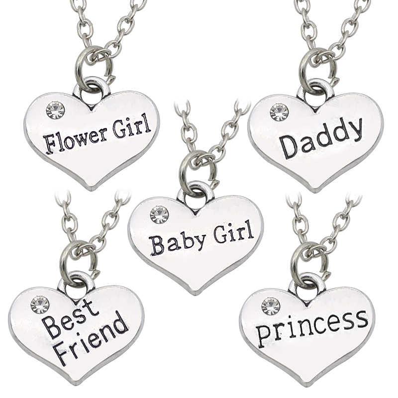 אבא החברים הכי טובים תינוקת נסיכת ילדה פרח סגולה תליון שרשראות Colar אהבת לב ריינסטון קולר שרשרת לנשים