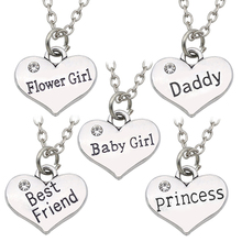 Best Friends Daddy Princess Baby Girl Flower Girl Charm Pendant Necklace  Silver Rhinestone Love Heart Necklace For Women Collar-in Pendant Necklaces  from ... e63285db4acb