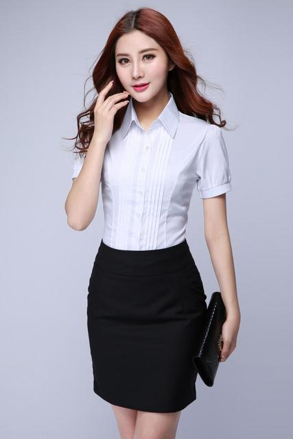 2016 New Casual Business White Shirt Women Slim Fit Solid Dress Shirts Short Sleeve Plus Size S 4xl Free Shipping