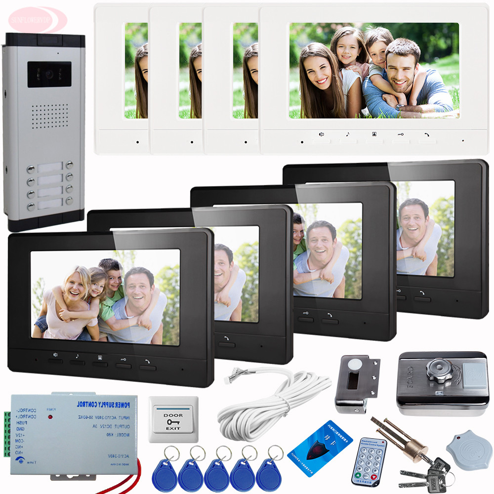 SUNFLOWERVDP 7 Color Screen Video Door Intercome Phone Call For Home Doorbell+Rfid Unlock Electronic Lock Intercom system 8 key wireless service call bell system popular in restaurant ce passed 433 92mhz full equipment watch pager 1 watch 7 call button
