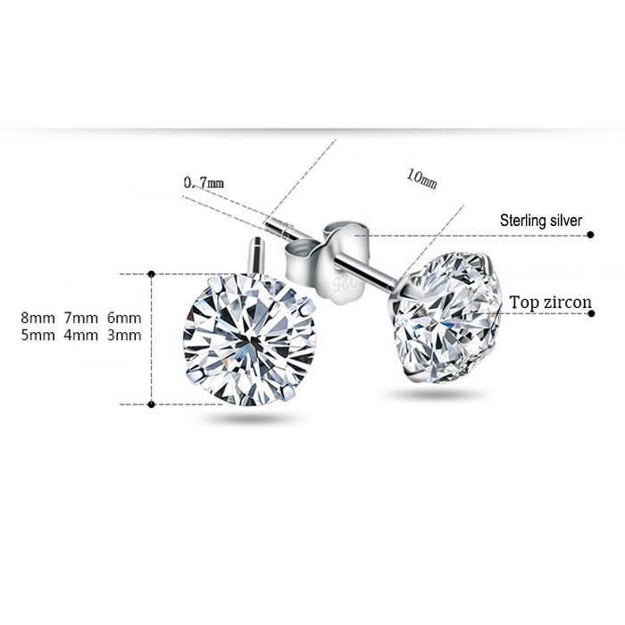 Malanda moda genuína 925 prata esterlina parafuso prisioneiro brincos de cristal branco zircão canal brincos para o casamento feminino jóias presente