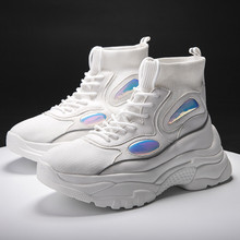 Large size 35-44 Platform Sneakers Women Thick Bottom Height Increasing 5CM Couple sneakers Casual Chunky Shoes Ladies