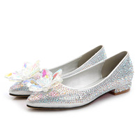 New Fashion Silver Crystal Cinderella Shoes Flat Heels Sexy Slip ON Big Size Women Party Shoes