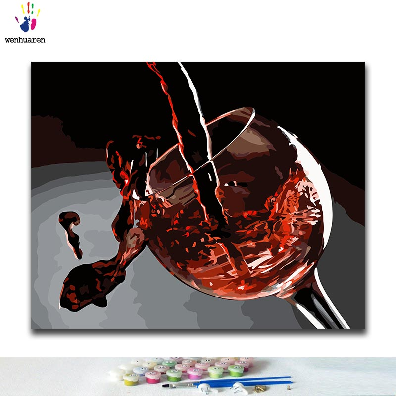 DIY Coloring Paint By Numbers Red Wine Paintings By Numbers With Kits 40x50 Framed