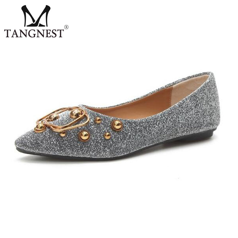 Tangnest Sexy Pointed Toe Women's Flats Chic Metal Decoration Shallow Ballet Flats Bling PU Leather Flat Shoes Size 35 ~40 women ladies flats vintage pu leather loafers pointed toe silver metal design