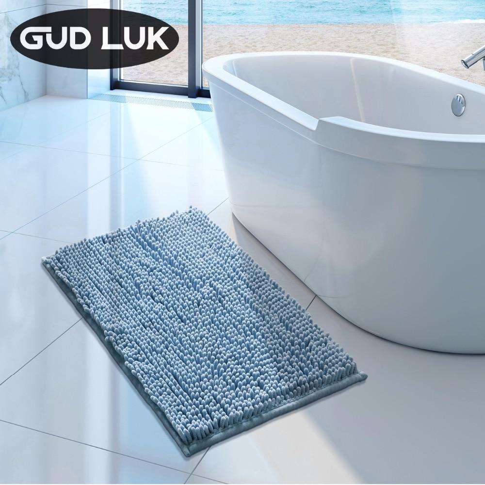 Adasmile Soft Shaggy Non slip Microfiber Bath Mat Bathroom Mats Shower Rugs for
