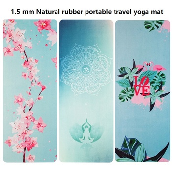 1.5 mm Natural rubber folding portable travel yoga mat Eco-friendly suede color printing yoga towel