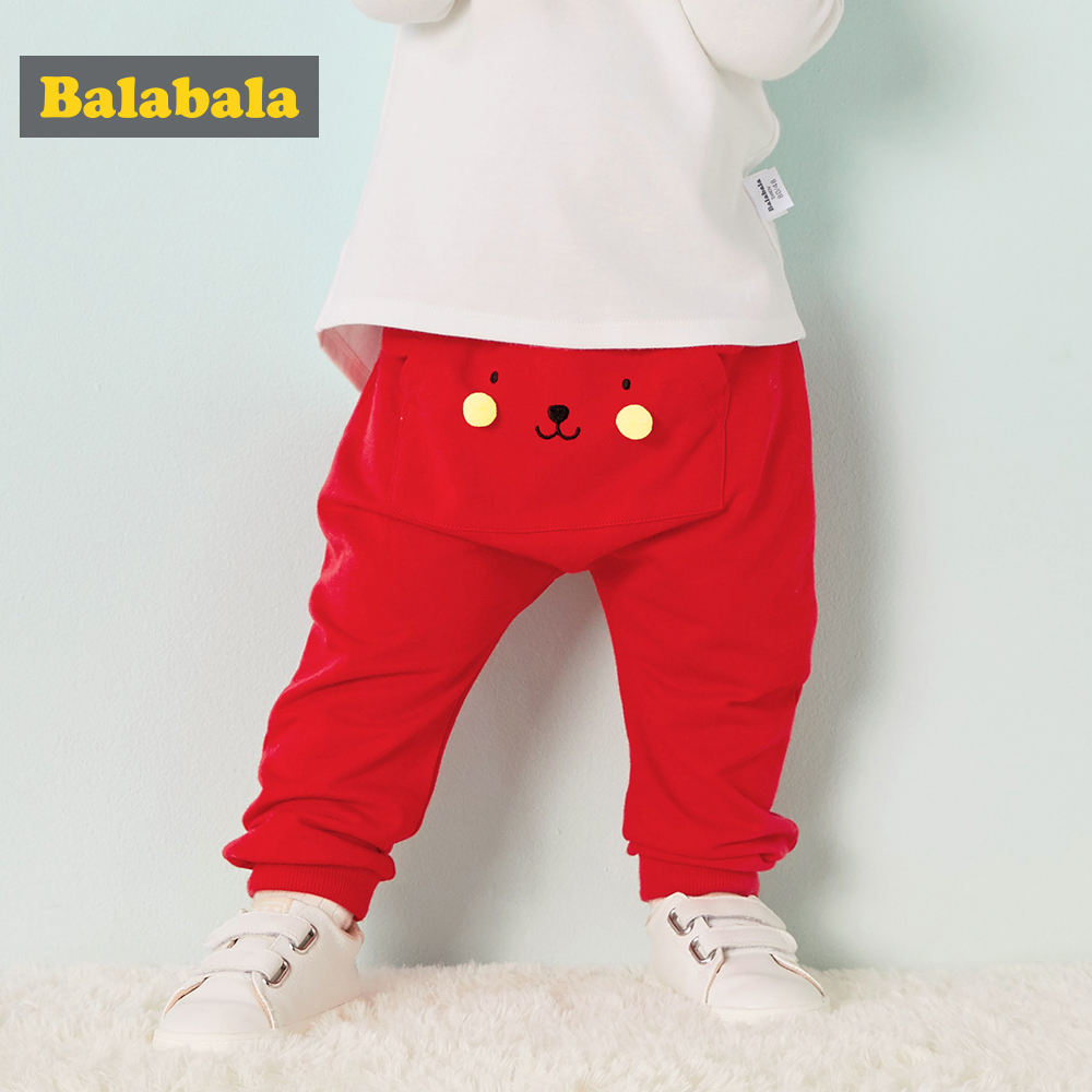 Balabala Baby 100% Cotton Jogger With 3D Ear At Back Pull-on Pants Infant Newborn Baby Girls Boys Bottom Harem PP Pants Trousers