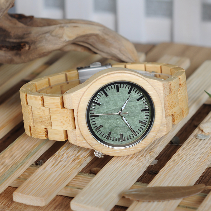 Image 4 - BOBO BIRD lovers Wooden Watch Full Bamboo Green Dial Quartz Watches for Couples in Bamboo Gift BoxLovers Watches   -