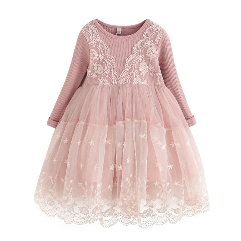 2017 New Embroidery Lace Girls Dresses For Wedding Girl Birthday Party Dress Princess Ball Gown Kids Vestido 3-7T 2 color