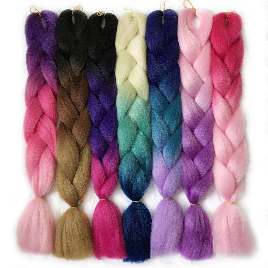 VERVES Braiding Hair 1 piece 24'' Synthetic Jumbo Braids 100g/piece ombre color kanekalon Fiber Hair Extensions