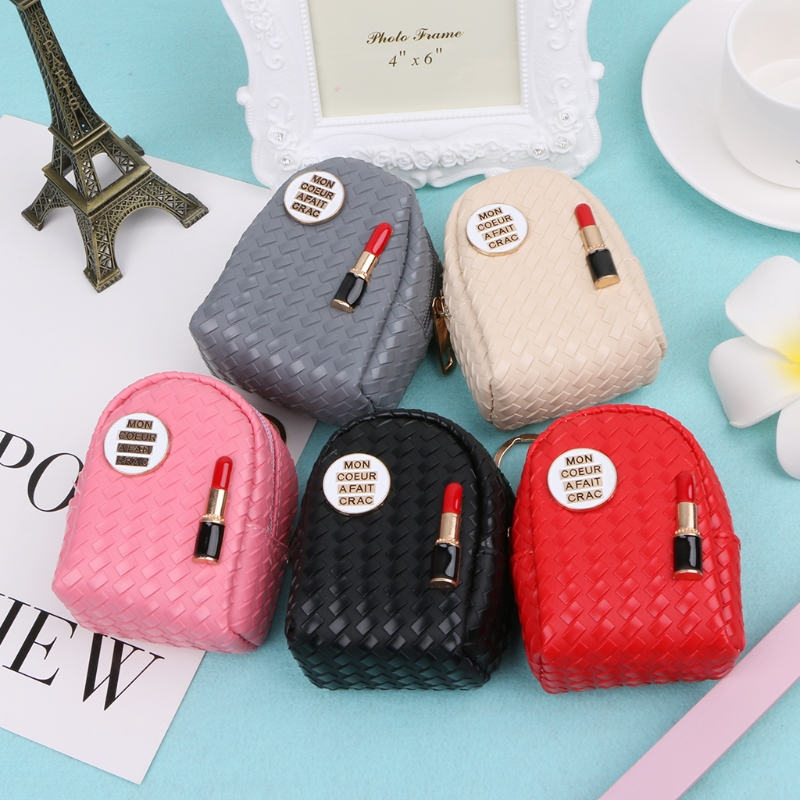 Fashion Women Mini Lipstick Coin Bag Multifunction Small Wallet Hand Pouch Purse Key Chain Keyring Hot New 5 Colors 2018