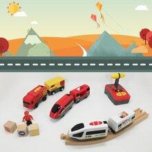 RC elektryczna kolej magnetyczna z wózkiem dźwięk i światło ekspresowe ciężarówka pasuje drewniany pociąg utwór elektryczne pociągi zabawka dla dzieci