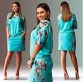 2016 Novo Vestido de Verão Mini Vestido Tamanho Grande Vestidos Casuais Mulheres vestido Plus Size Mulheres Roupas 4XL 5XL 6XL Escritório Bodycon Vestido