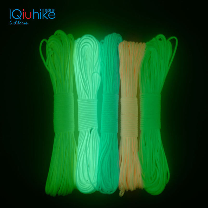 5 Colors Glow In The Dark Luminous Paracord 550 100FT Parachute Cord Lanyard Rope 7 Strands Cores Outdoor Survival Wholesale