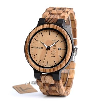 BOBO BIRD Men Wristwatches Quartz Movement Complete Calendar Wood Watch Week Display relogio masculino in Gift Box L-O26