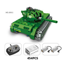 Hot modern military weapons world war radio remote control main battle tank building block rc toys collection for children gifts(China)