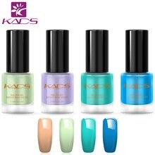 KADS 4 pièces/ensemble frais mignon couleur vernis à ongles bleu vernis à ongles 9.5 ML estampage vernis à ongles ensemble vernis à ongles modèle vernis