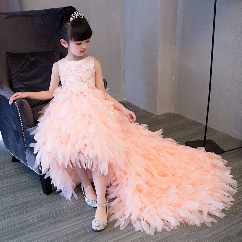 Luxury European Girls Children Lace Flowers Princess Dress With Long Feathers Tail Wedding Birthday Party Long Pageant Dress