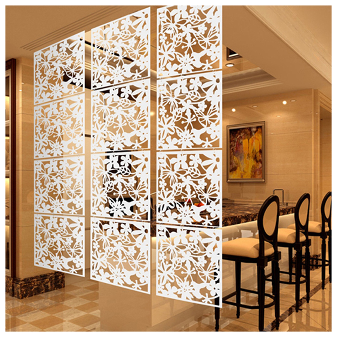 Best Fashion 4 Pcs Butterfly Bird Flower Hanging Screen Partition Divider Panel Room Curtain Home Decor White/Black/Red