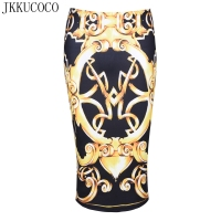 JKKUCOCO European American Hot Women Skirts Flowers Print Casual Skirt Knee Length Package Hip Pencil Skirt