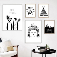 Cartoon Indian Panda Tent Peak Wall Art Canvas Painting Nordic Posters And Prints Black White Pictures Kids Room Decor