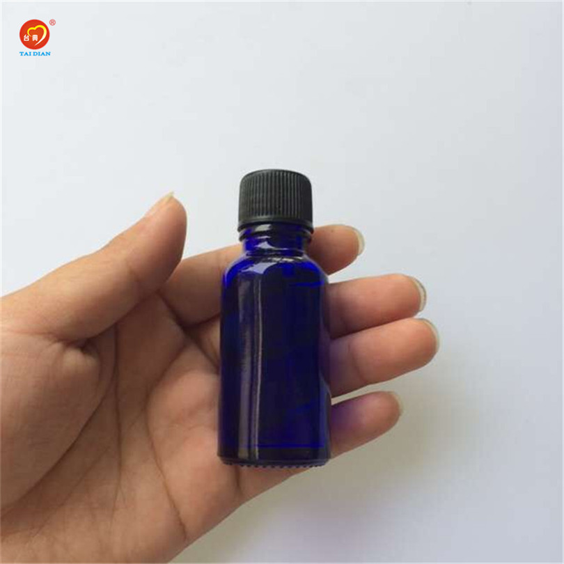 Wholesale 15ml Small Blue Glass Bottles with Sealing up Stopper+Screw Cap Nail Polish Oil Bottles Glass Jars 24pcs/