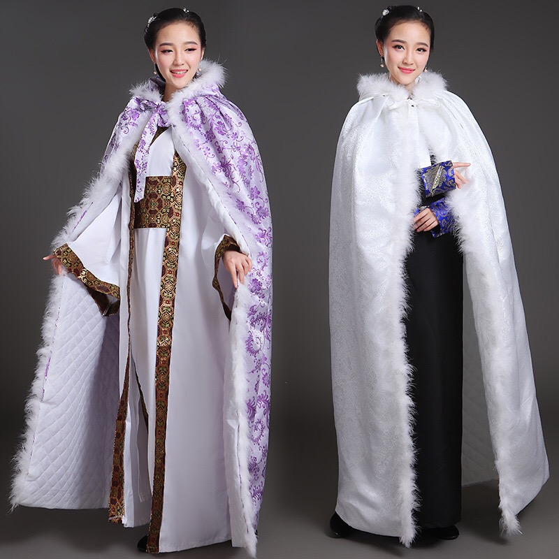 HAIJINMINGWEN Hanfu Cape Cloak Female Summer Plus Velvet Thickening Long Chinese Style Princess Costume Jacket Costume