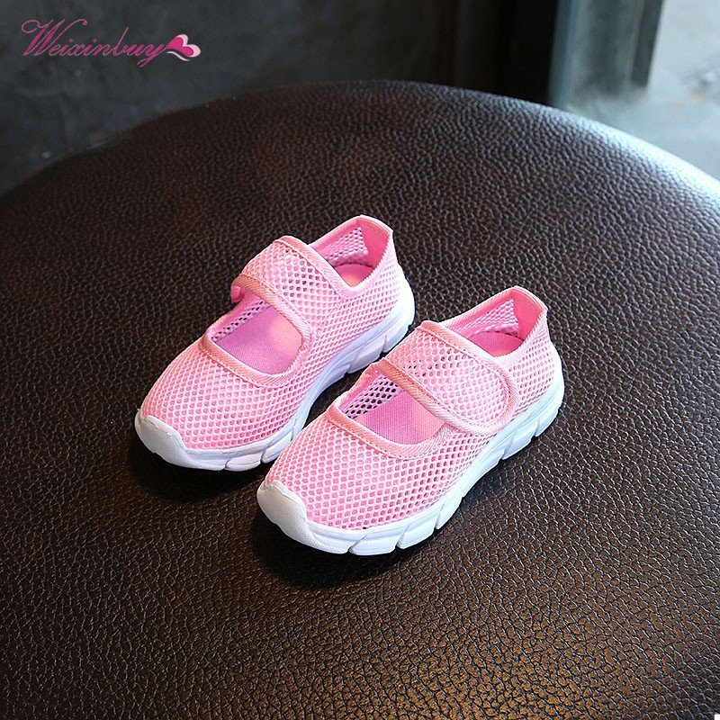 WEIXINBUY Children Canvas Casual Shoes Summer 2018 Fashion Candy Breathable Mesh Kids Sports Boys Girls Sneakers 6 Colors 2-11Y