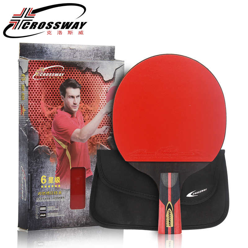 Long handle  table tennis racket rubber Log 6 Star rackets table tennis Sticky Pimples-in Rubber Super Powerful Ping Pong Racket