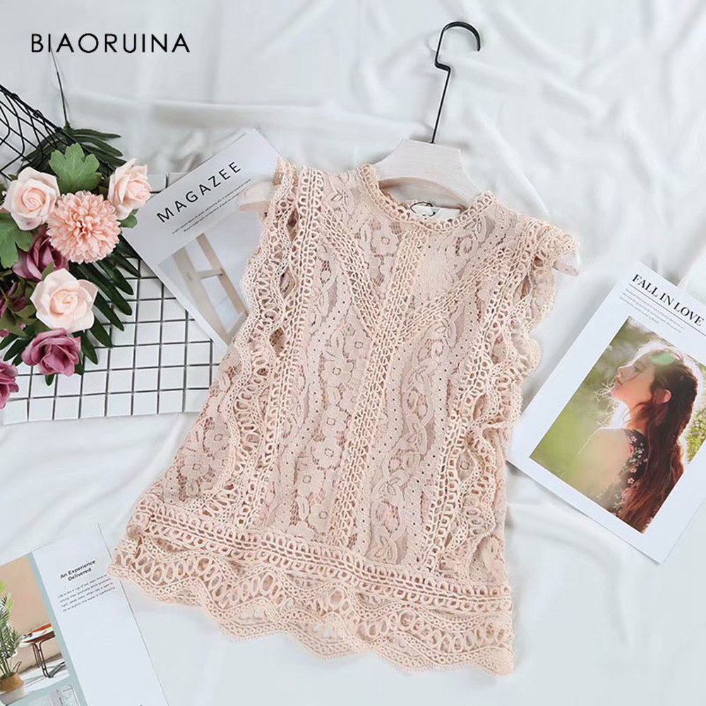 BIAORUINA Women Sexy Solid Lace Patchwork All-match   Tank     Tops   Summer Female Vintage Hallow Out Sleeveless O-neck   Tank     Tops