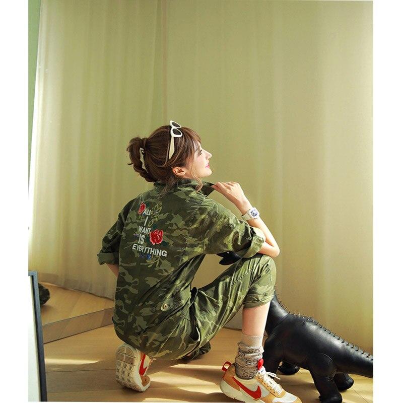 2019 Wais Casual Salopette Florale Mode De Army Combinaison Haute Broderie Partie Combinaisons Green Coton Camouflage Longues Femmes Manches wHqCqrF5