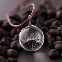 Женское Ожерелье Одуванчик стеклянный шар подвеска ожерелье очарование трендовый натуральный Одуванчик Подвеска Прозрачный счастливое пожелание стеклянный шар