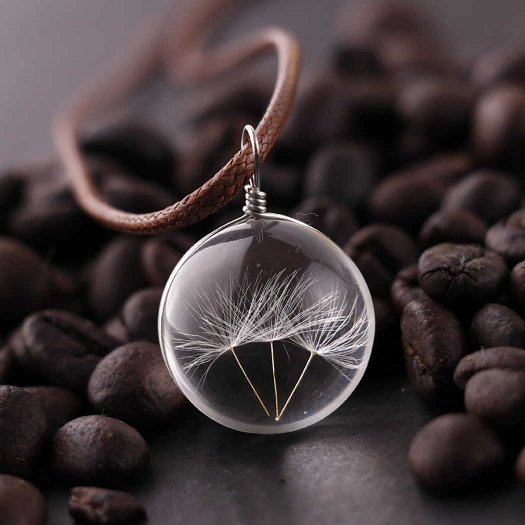Women Necklace Dandelion Glass Ball Pendant Necklace Charm Trendy Natural Dandelion Pendant  Transparent Lucky WISH Glass Ball