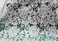 2016 Fashion Lace Fabric 155cm Width Ivory Vintage Embroidered With Floral 3D High End Luxury Wedding