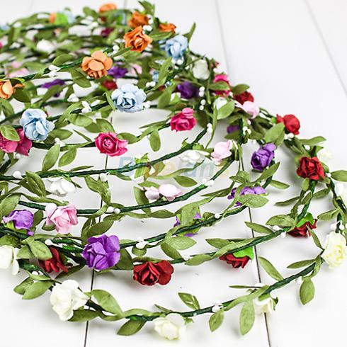 Hot Bride Headband Flower Boho Women Lady Girl Floral Festival Wedding Garland Forehead Hair Head Band