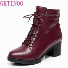 Botas de piel auténtica con cordones para mujer, botines cálidos, de tacón alto, para Primavera, otoño e invierno, 33 42
