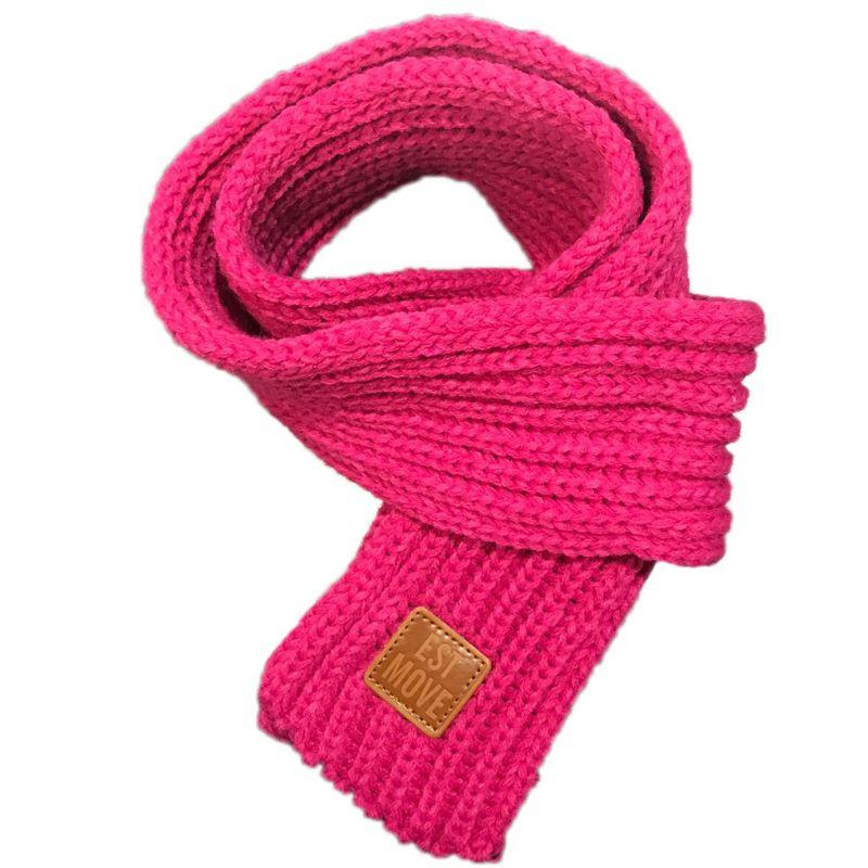 Детский вязаный шарф из акрилового волокна для мальчиков и девочек, плотная зимняя теплая шаль для шеи, шарфы с резиновыми буквами - Цвет: Розово-красный