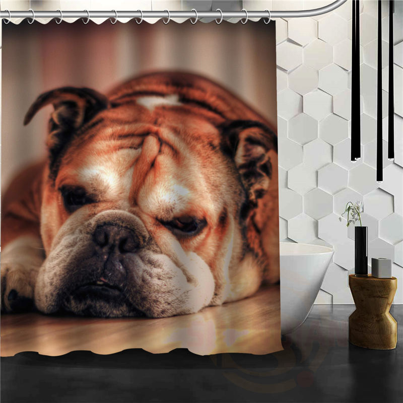 Custom English Bulldog Shower Curtain Multi Size Waterproof Bathroom FabricCurtains